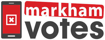 Markham Votes logo with link to MarkhamVotes.ca for voting details