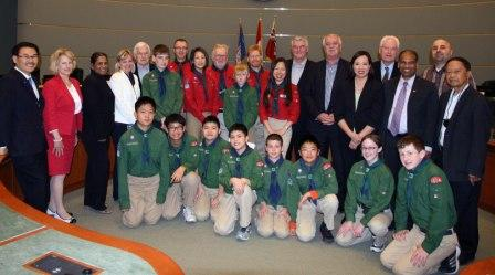 Boy Scouts at Council Meeting